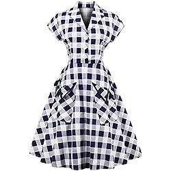 Vestido a Cuadros Azul y Blanco Vintage Manga Corta Botón de Pecho Gran Decoración de Bolsillo Vestido de Elegante(M)