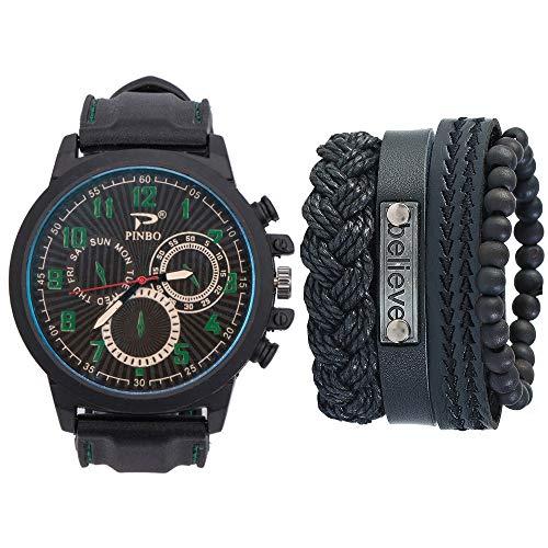 AmzGxp Casual Business Herren/Damen Silikon Quarzuhr + Armband Set (5 Teile/Satz) Uhr Exquisit (Farbe : Green)