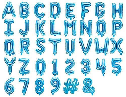 Buchstaben Zahl 35cm Luftballon Geburtstag Hochzeit Babyparty Silvester Dekoration, Farbe: Blau, Größe: Buchstabe - P ()