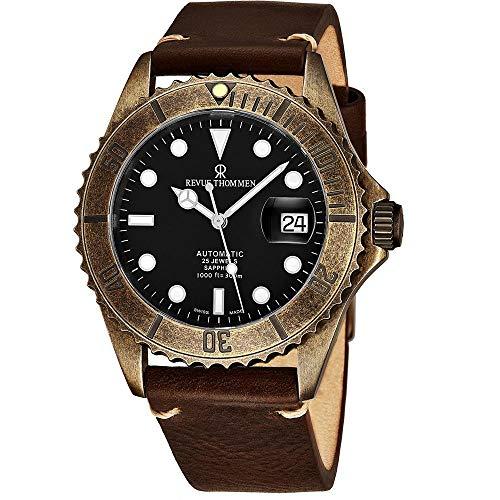 Revue Thommen Diver XL Homme 42mm Bracelet Cuir Automatique Montre 17571.2589