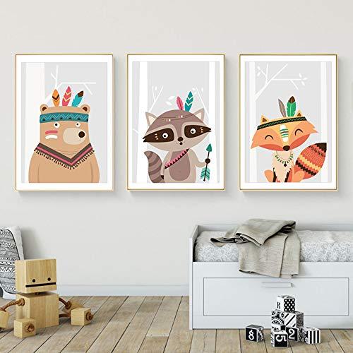 Juego de 3 Cuadros Infantiles Niño Pósteres Animales Láminas Zorro Oso Mapache Impresiones sobre Lienzo Decoración Habitación Bebé pared Regalo Sin Marco NPTWC009-S