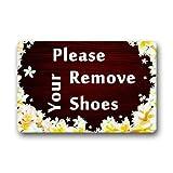 Kaixin J Custom Funny Words Please Remove Your Shoes Indoor/Outdoor Doormat 31.5x19.5 inch