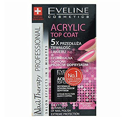 Eveline Nail Therapy Acrylic Top Coat 5x Extends Durability of Nail Polish
