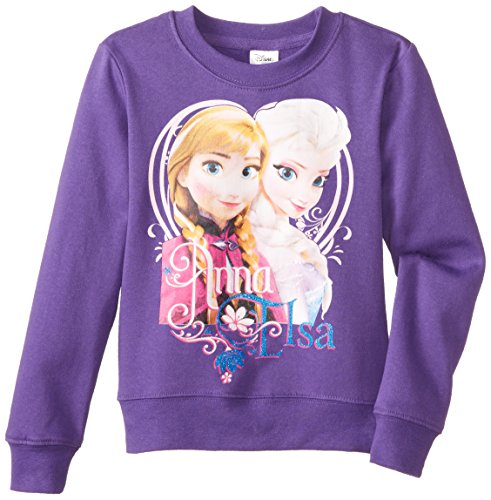 Disney Frozen Anna & Elsa with Heart Purple Pullover Sweater | 6x