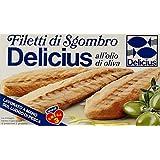 Delicius - Filetti di Sgombro all'Olio di Oliva, Ricco di Omega 3 - 125 g