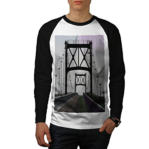 wellcoda Brücke Städtisch Straße Mode Fluss Struktur Männer 2XL Baseball LS T-Shirt (Fluss-baseball-jersey)