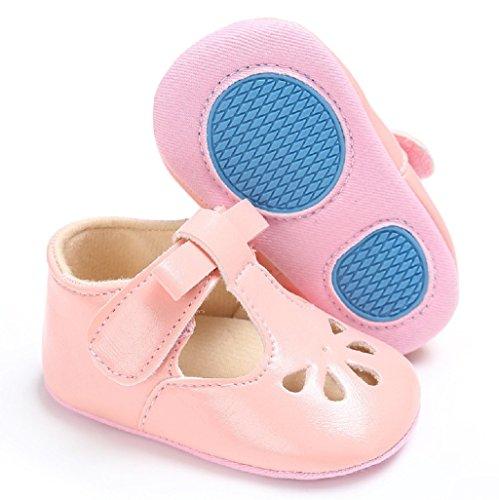 Auxma Baby Mädchen Hohl Bowknot Soft-Soled Prinzessin Schuhe Sandalen für 3-18 Monate (3-6 M, Blau) Rosa