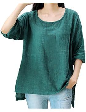 LuckyGirls Mujer Camisetas Manga Larga Color Sólido Tops Blusa Sudaderas Camisas Talla Grande (L~4XL)