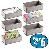 mDesign 6er-Set Baby Organizer aus Polypropylen – Aufbewahrungsbox für Babysachen, Decken etc. – auch zur Spielzeug Aufbewahrung geeignet – beige