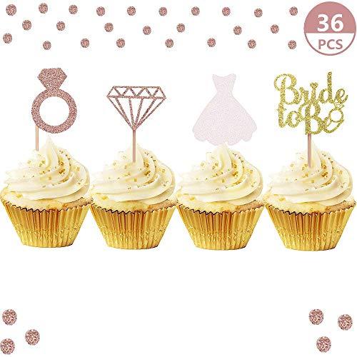JeVenis Set von 36 Glitter Bride Cupcake Topper Diamond Ring Brautkleid Cupcake Topper für Hochzeit Engagement Bridal Shower Dekorationen Sein