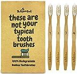 Bambus Zahnbürste w/15Grad Winkel & Soft BPA-frei Nylon Borsten–100% Bio und biologisch abbaubar Holz Zahnbürste für Erwachsene–4Stück Best Zahnbürsten für empfindliche Zahnfleisch
