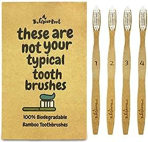 Bambù spazzolino W/15gradi di angolo e setole in nylon morbido senza BPA–100% biologico e biodegradabile in legno spazzolino da denti per adulti–Confezione da 4Best–Spazzolino per gengive sensibili