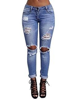 4b189f1f40f0 WanYang Femme Rétro Jeans Déchirés Trous à Taille Haute en Denim Pantalons  Slim Crayon Pantalon