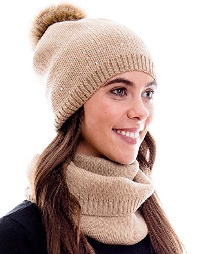 Hilltop Conjunto de invierno compuesto por bufanda de invierno y gorro de punto a juego/beanie con pompón, conjunto de invierno:7A - marron claro