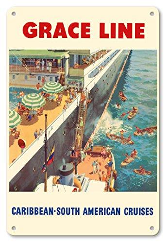 Pacifica Island Art - 22 x 30 cm Metallschild - Karibik - Südamerika Kreuzfahrten - Grace Linie - Einheimische Münzentaucher - Retro Kreuzfahrtschifffahrts Plakat von Carl G. Evers c.1952