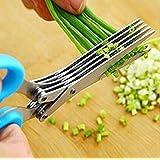 Kingwin cocina inoxidable 5capa cebolla de primavera primavera cebolla vegetal Shredder Slicer Cortador (azul)