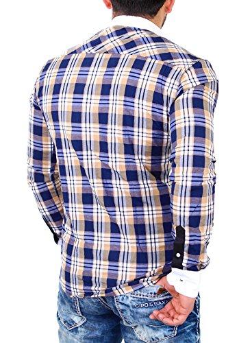 Reslad Herren Hemd Karo Muster Design Langarmhemd RS-7212 Camel