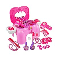 Girls Role Play Make Up Set, 9 Pcs Girl Princess Dressing Table Toy Set Pretend Makeup Cosmetic Set
