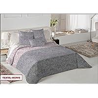 Textilhome - Funda Nórdica REMY- Cama 150 - 240x260cm . Color Gris + 2 Fundas Cojín 60X60cm.