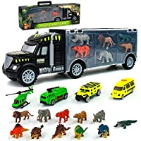 Dinosaur Toys Transport Carrier Animals Truck Toys Plastic Dinosaurs Helicopter Double Inside Storage Transport Car for Kids Boys Girls 3 4 5 6 Years Old Birthday Chirstmas