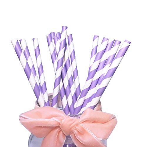 Pailles en papier à rayures violettes, lilas et lavande - 197mm - Pour décoration de table de fête