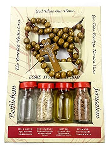 Holy Land Set Kit Olive Wood Prayer Rosary 4 Holy Bottles Oil Water Incense Earth Jerusalem