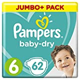 Pampers Baby-Dry with air channels for breathable drying at night, Size 6, 13-18 kg, 3 packs of 62 diapers