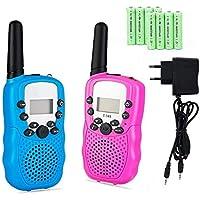 Lomoo Mini Walkie-Talkies Alcance de hasta 3 KM PMR 446MHz con 8 Canales Walkie Talkies con Batería Recargable y Cargador - (1 Par, Azul y Rosa)