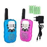 Lomoo Mini Walkie Talkie Lungo Raggio PMR446MHz 8 Canali Walkie Talkie con Batterie Ricaricabili e Caricatore Portata Fino a 3 KM, Display LCD VOX con Torcia LED Integrata Blu & Rosa