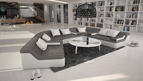 SalesFever Rund-Sofa mit Bezug aus grau/weißem Kunstleder 410x272 cm halbrund | Catoca | Designer Wohnlandschaft im XXL Format Recamiere Links | Couch-Garnitur für Wohnzimmer grau/Weiss 410cm x 272cm