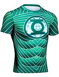 Impression 3D CT06Vert Style B Collant de Compression Homme Top à Manches Courtes pour Femme pour Sport Fashion