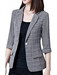 Hot Brd-UK Women's Open Front One Button Versatile Checkered Blazer