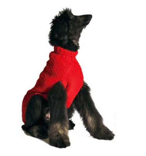 Chilly Dog Kabel Pullover, Klein, Rot - Kabel Pullover