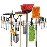 Sostén de la fregona en tapiz de la pared de funciones múltiples ,Estante de herramientas para el hogar, jardín, garage.Y gancho de 6 posición,6 ganchos y 2 tabla de herramienta