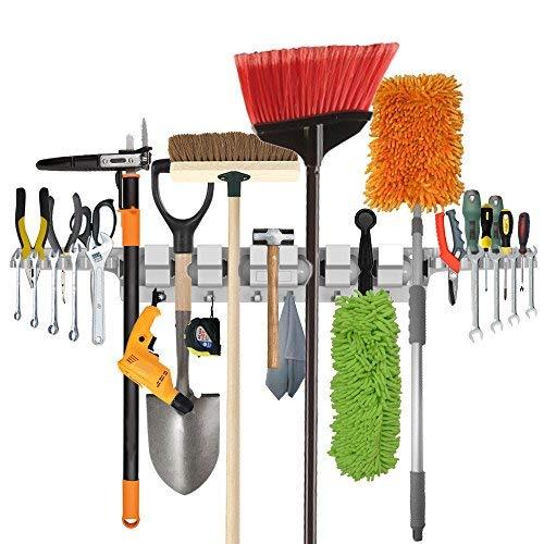 Garten Tool Rack (Utility Wall-Mounted Mop Broom Halter, Tool Rack für Haus, Garten, Garage, Storage & Organisation Kleiderbügel mit 6 Positionen, 6 Haken & 2-Tool-Plattformen)