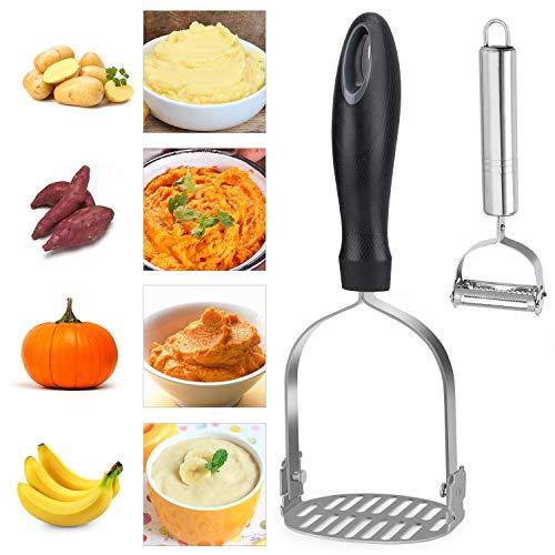 Fostoy Kartoffelstampfer,Edelstahl Gemüse Stampfer,Anti-Rutsch Griff Gemüsestampfer Perfekt für Kartoffelpüree Gemüse und Früchte mit Geschenk Schäler