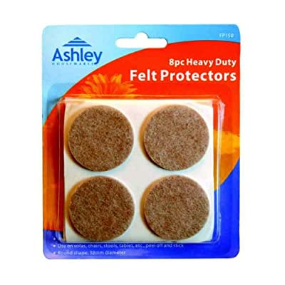 8 Pack Heavy Duty Felt Protectors For Use on Sofas, Chairs, Stools, Tables, etc. 38 mm Diameter