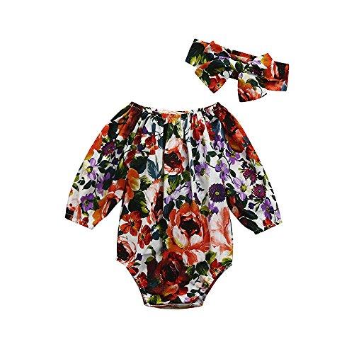 6366e9443b539 ❤Ensemble Bébé Fille,2pcs Bébé Filles Floral Bambin Manche de Sept Quarts  Combinaison Barboteuse