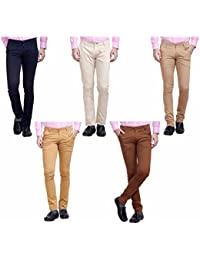 Nimegh Cream, Navy Blue, Brown, Wine And Beige Color Cotton Casual Slim Fit Trouser For Men's (Pack Of 5)