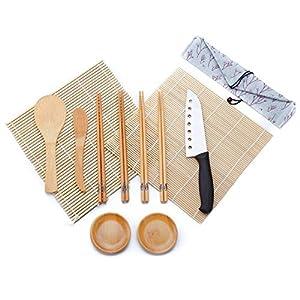 WeeDee Bambus Sushi Maker Set - 2 x Rollmatte, aus Bambus, 4 Paar Essstäbchen, Reislöffel, Paddel, Sushi Messer , 2 x Gericht