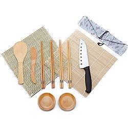 WeeDee Kit Sushi in bambù per arrotolare 12 Pezzi - 2 x Stuoie, 1 x Paletta Riso, 1 x Spalmatore Riso, 4 Paia di Eleganti Bacchette , 1 x Sushi Coltello , 2 x Piccolo Piatto
