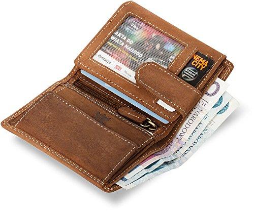 handliche kleine Geldbörse für Herren Naturleder WILD REAL ONLY (schwarz) sandfarben
