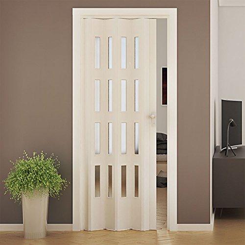 Porta a soffietto da interno in pvc con vetro 88,5x214cm saba jasmine bianca