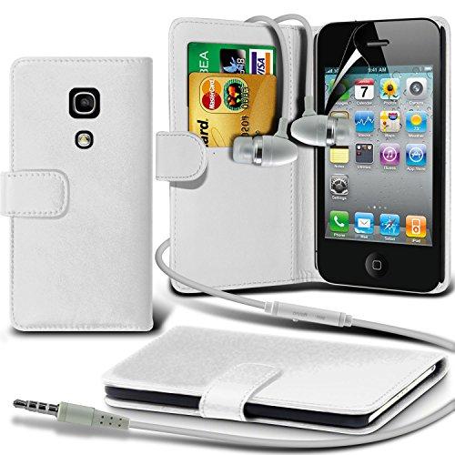 Portefeuille en cuir couverture de peau de cas de secousse Avec écran LCD Protecteur Pour Apple iPhone 4 By i-Tronixs Blanc + écouteur