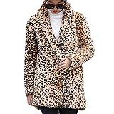 Winterjacke Damen Lang Winter Leopard Langarm Cardigan Taschen Jacke Outwear Mantel Bluse (S, Braun)