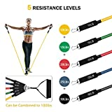 TOPELEK Exercise Resistance Bands Set, [Upgraded Version] Fitness Resistance Bands Set 5 Fitness Tubes, Handles, Door Anchor, Ankle Straps, Carrying Pouch, Workout Guides Men Women