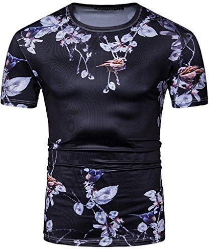 Whatlees Unisex Digital Printing Schmale Passform T Shirts mit Bunt Pflanze und Tier 3D Druck Muster B502-Black