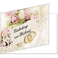 25 Stück Einladungskarten Zur Hochzeit (EKT 103) Format DIN A6   Einladungen  Ringe