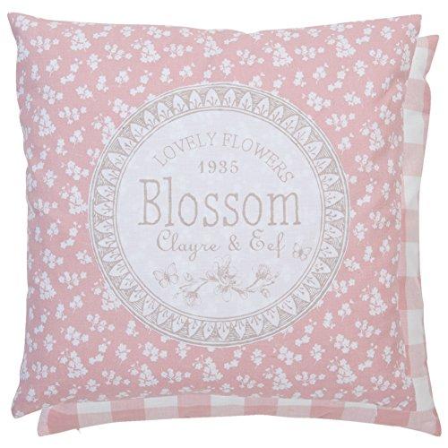 Kissenhülle, Kissenbezug im Pastell roten Vintage Design, Rückseite naturfarben, LOVELY FLOWER Design, Maße 40 x 40 cm, aus dem Hause Clayre & Eef