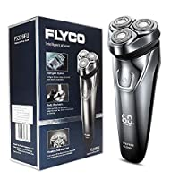 FLYCO Electric Shavers Men FS339EU, Wet & Dry Electric Razor Rotary Shaver for Men Cordless Rechargeable Shavers Mens Close Cut Wet & Dry Razors with Pop-up Trimmer, IPX7 Waterproof, Time Display